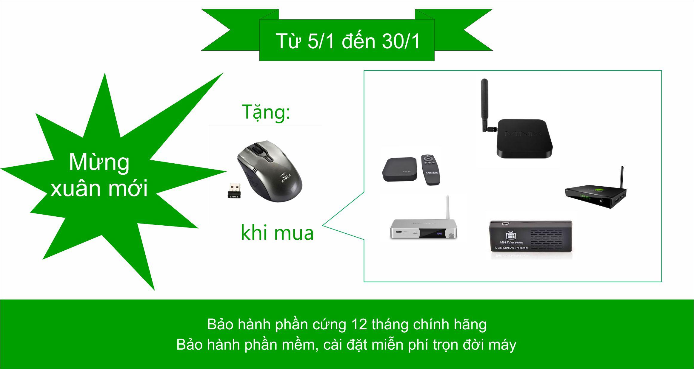 Mừng xuân mới – tặng chuột không dây khi mua sản phẩm Android box/stick
