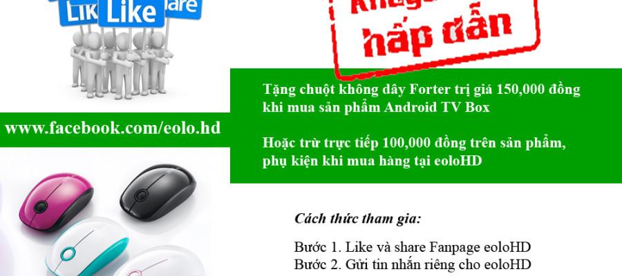 Khuyến mãi tặng chuột bay khi like và share Facebook Fanpage